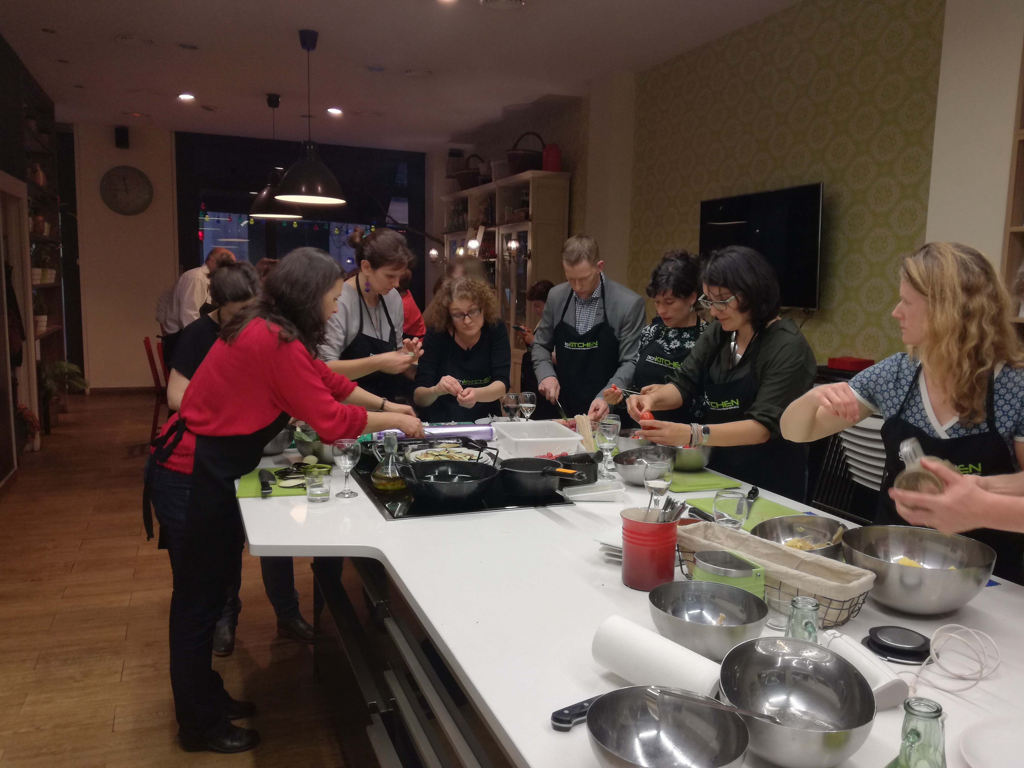 Members of the ORION project team pco-creating tapas at bcnKitchen