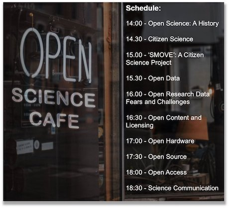 Open Science Cafe schedule poster